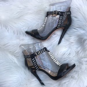 Schutz Black and Off White Leather Heels 6B
